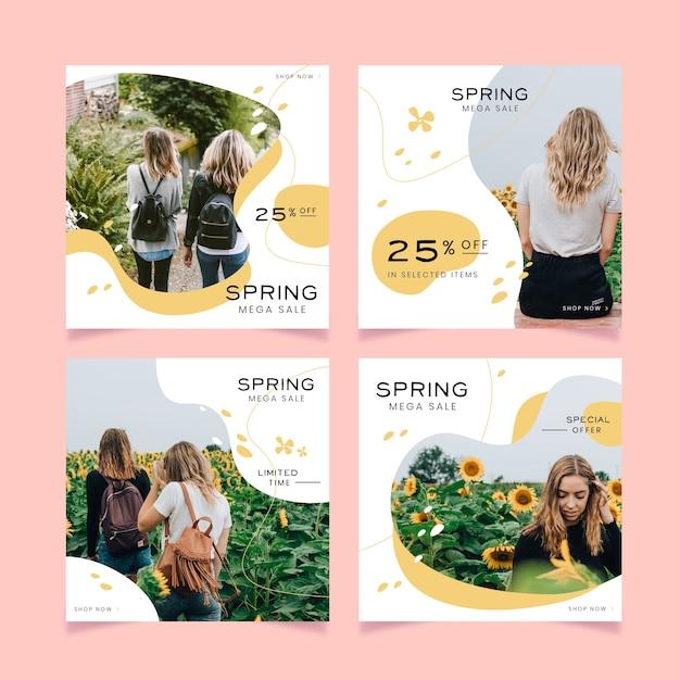 Coleção de postagens do instagram de venda de primavera Vetor grátis