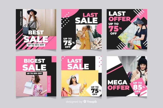 Coleção de postagens do instagram de venda de roupas de menina Vetor grátis