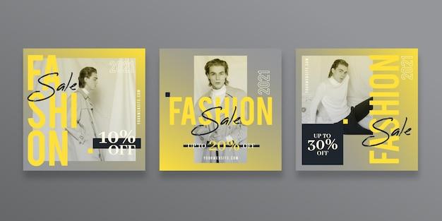 Coleção de postagens do instagram de venda gradiente Vetor grátis