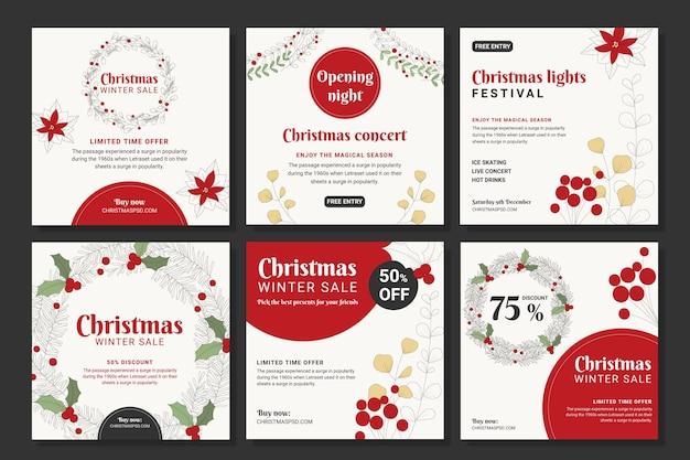 Coleção de postagens do instagram de vendas de natal Vetor grátis