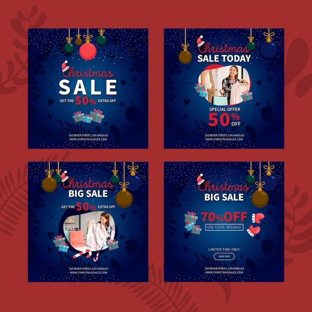 Coleção de postagens do instagram de vendas de natal Vetor Premium