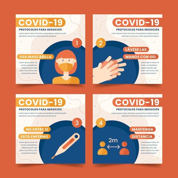 Coleção de postagens do instagram do coronavirus Vetor grátis