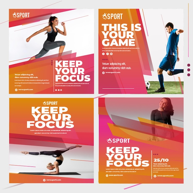 Coleção de postagens do instagram para atividades esportivas Vetor Premium