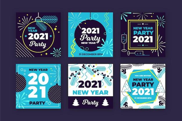 Coleção de postagens do instagram para festa de ano novo de 2021 Vetor grátis