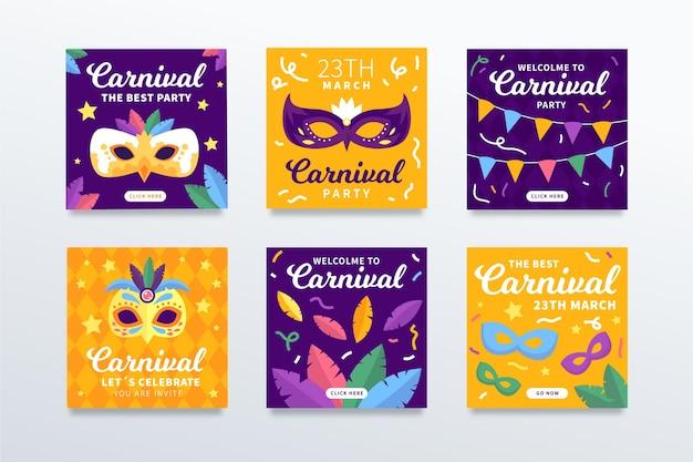 Coleção de postagens do instagram para festa de carnaval Vetor grátis