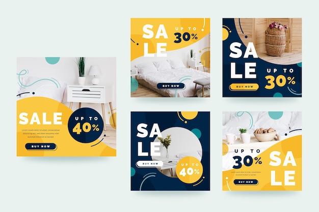 Coleção de postagens do instagram para venda de móveis planos Vetor grátis
