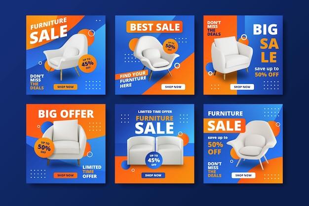 Coleção de postagens do instagram para venda de móveis Vetor Premium