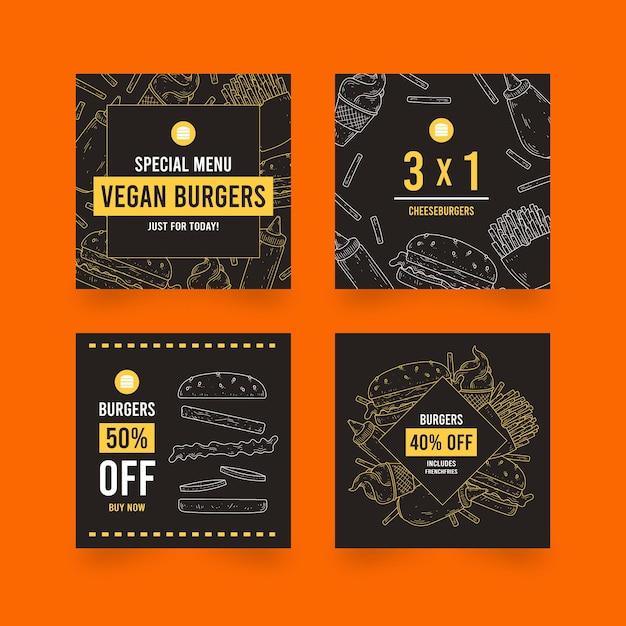 Coleção de postagens no instagram de venda de hambúrgueres Vetor grátis