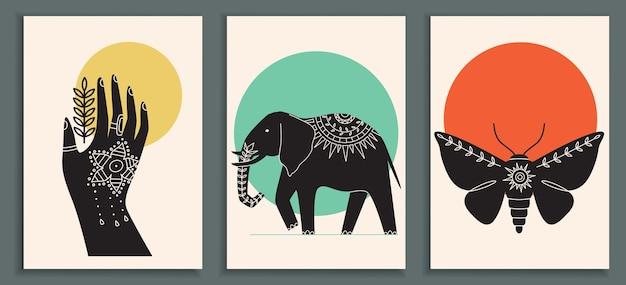 Coleção de pôsteres abstratos com mão indiana mehendi Vetor Premium