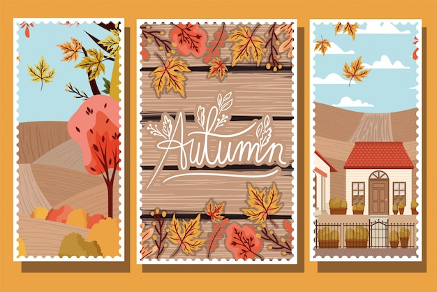 Coleção de pôsteres de outono Vetor Premium