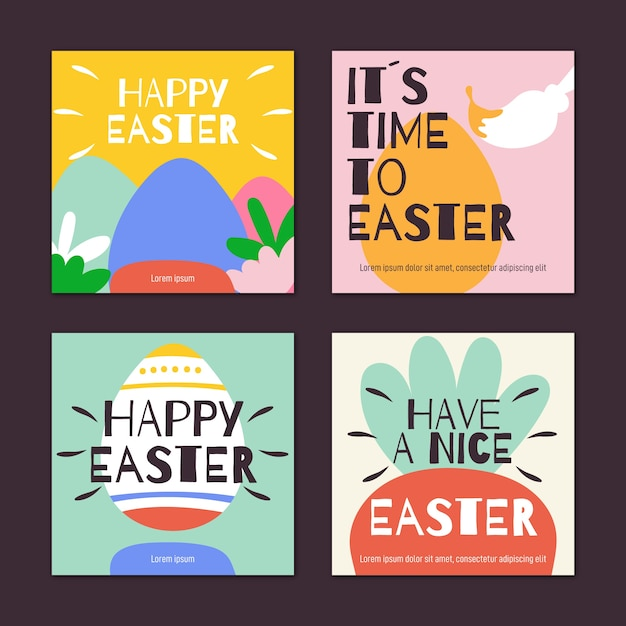 Coleção de posts do instagram do dia de páscoa Vetor grátis