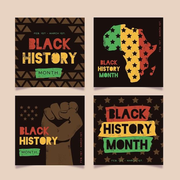 Coleção de posts do instagram do mês da história negra Vetor grátis