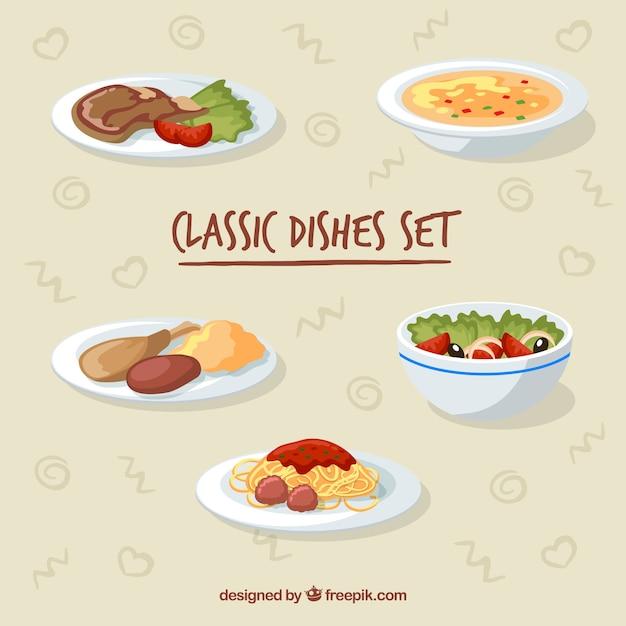 Coleção de prato de comida com deisgn plana Vetor grátis