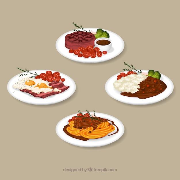 Coleção de prato de comida em aquarela Vetor grátis