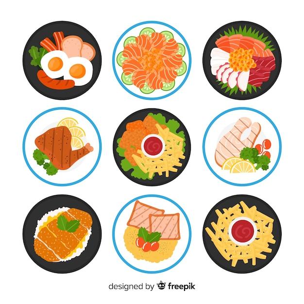 Coleção de prato de comida plana Vetor grátis