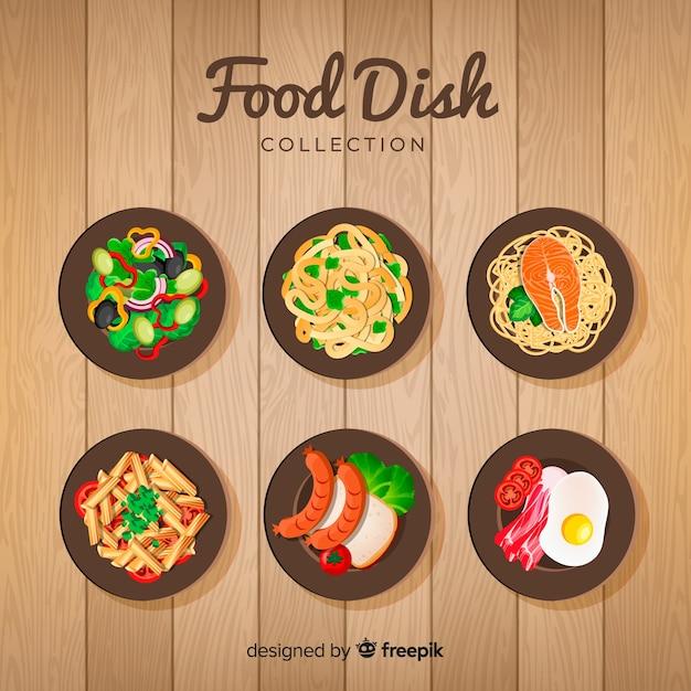 Coleção de prato de comida realista Vetor grátis