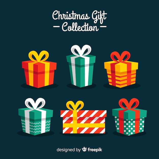 Coleção de presente de natal colorido com design plano Vetor grátis
