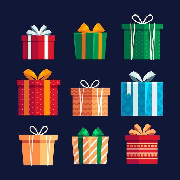 Coleção de presente de natal em design plano Vetor grátis