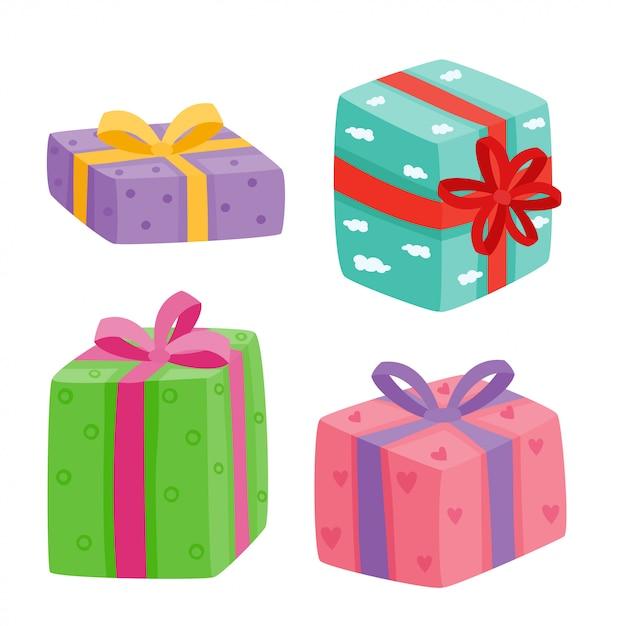 Coleção de presentes de natal. ilustração de presentes dos desenhos animados, isolado no branco Vetor Premium
