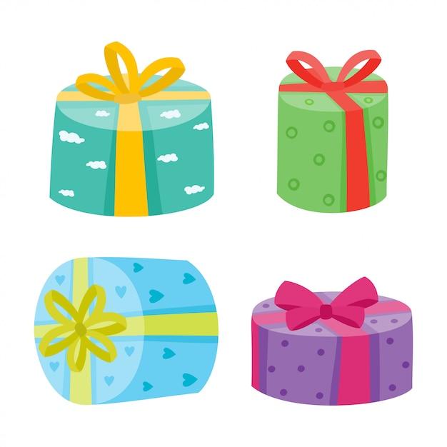 Coleção de presentes de natal ou aniversário. Vetor Premium