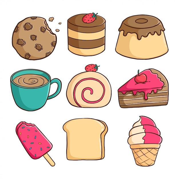 Coleção de pudim delicioso, sorvete, fatia de bolo e biscoitos com estilo colorido doodle Vetor Premium
