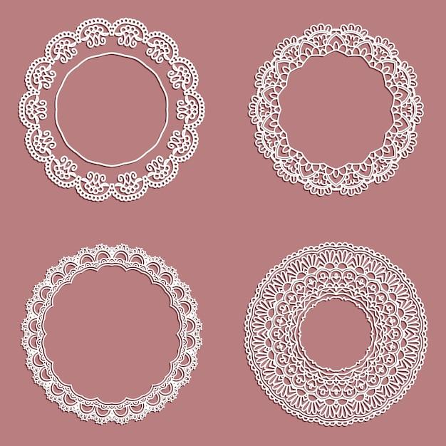 Coleção de quadros circulares com estilo laço Vetor grátis