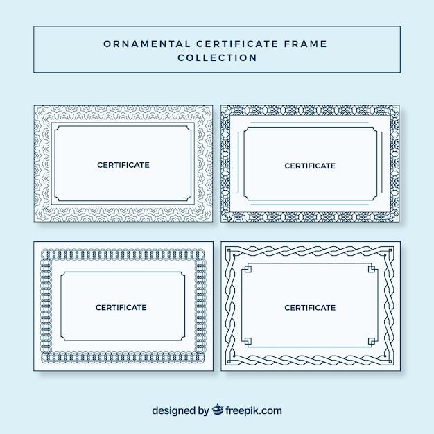 Coleção de quadros de certificado em estilo ornamental Vetor grátis
