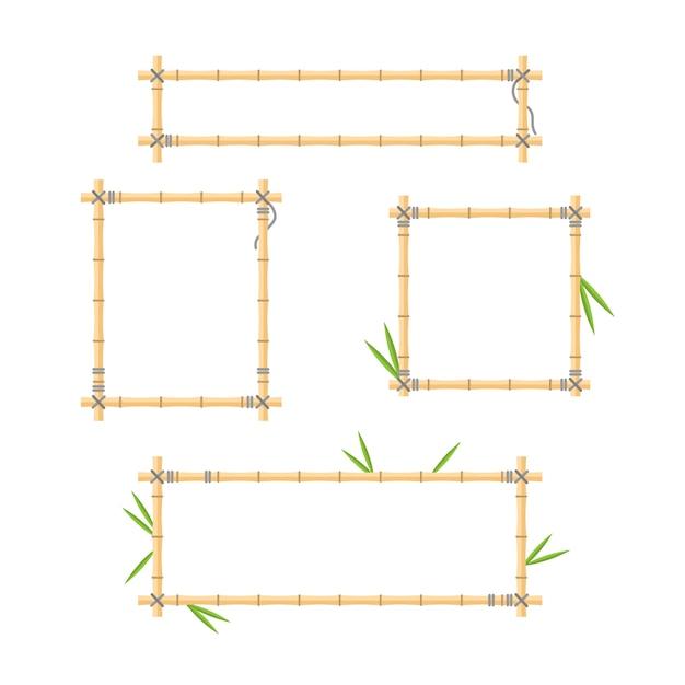 Coleção de quadros de pau de madeira Vetor Premium