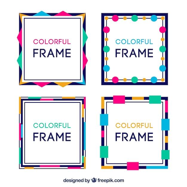 Coleção de quadros em estilo colorido Vetor grátis