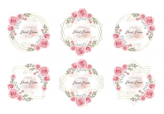 Coleção de quadros florais de flor elegante aquarela Vetor Premium