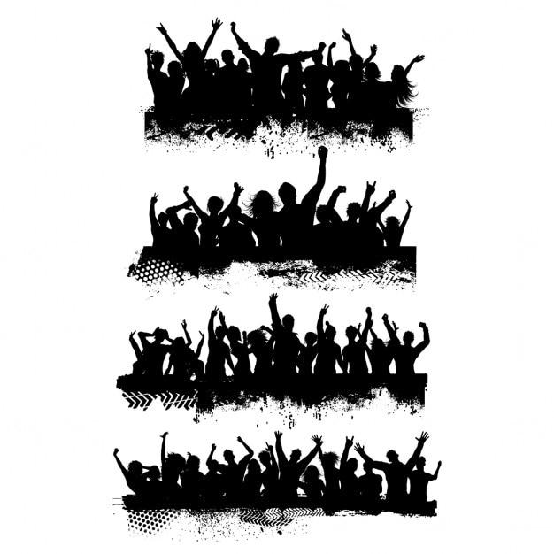 Coleção de quatro diferentes cenas de multidão grunge Vetor grátis