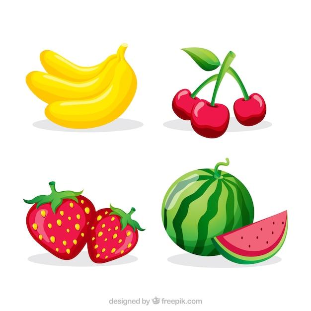 Coleção de quatro frutas coloridas Vetor grátis