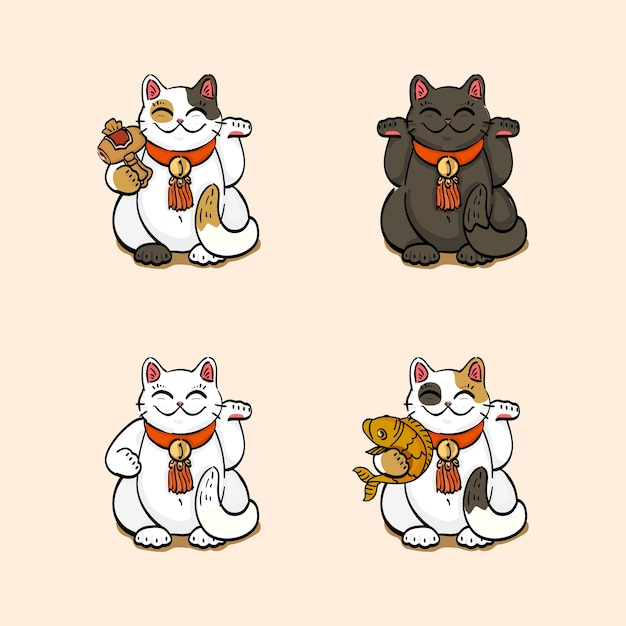 Coleção de quatro gatos da sorte (maneki neko) desenhados em diferentes poses Vetor Premium