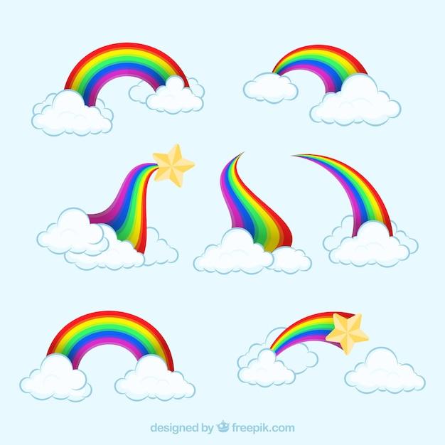Coleção de rainbows em diferentes formas Vetor grátis