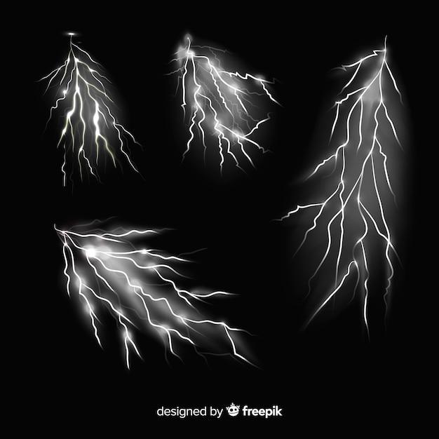 Coleção de raios preto e branco Vetor grátis