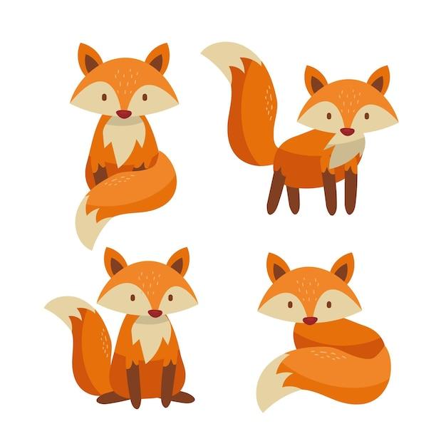 Coleção de raposa desenhada à mão Vetor grátis