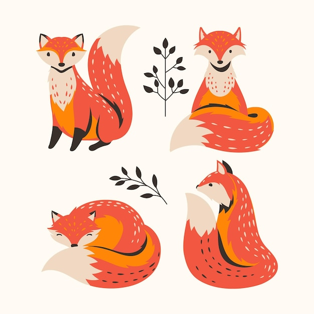 Coleção de raposa desenhada de mão Vetor grátis