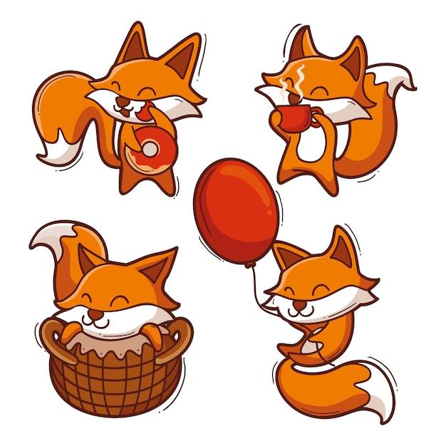 Coleção de raposa Vetor grátis