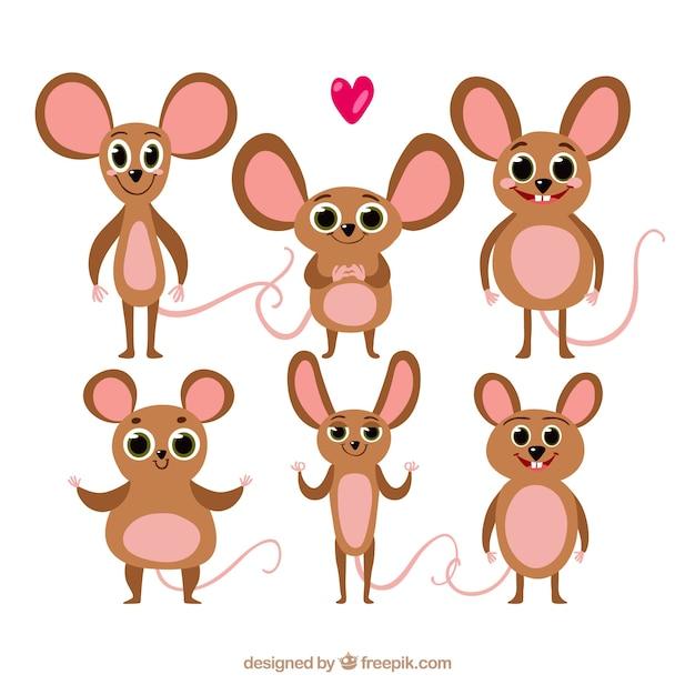Coleção de ratos lisos com diferentes poses Vetor grátis