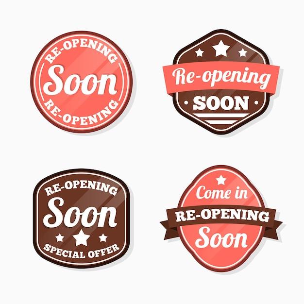 Coleção de re-abertura de etiquetas em breve Vetor grátis