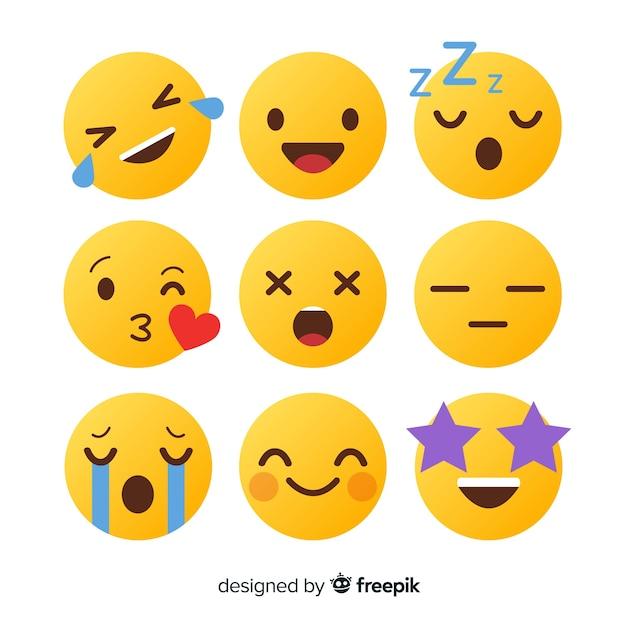 Coleção de reação de emoticon de design plano Vetor Premium