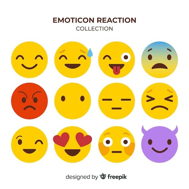 Coleção de reação de emoticon de design plano Vetor grátis
