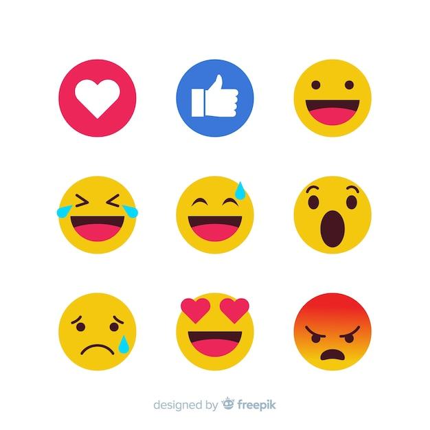 Coleção de reação emoticon Vetor grátis
