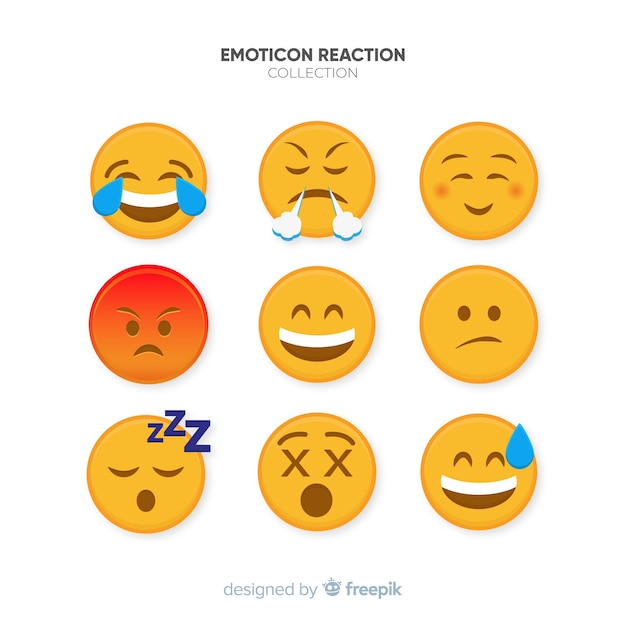 Coleção de reação plana emoticon Vetor grátis