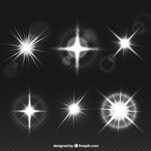 Coleção de reflexo de lente branca Vetor grátis