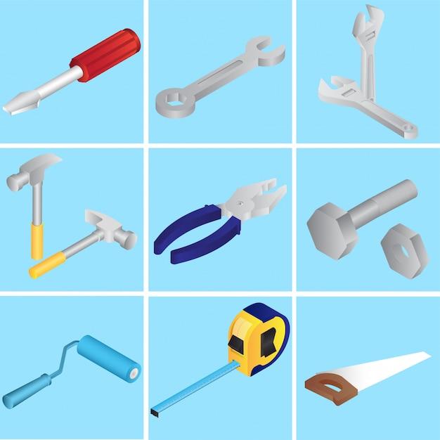 Coleção de reparação de ferramentas ou objetos em azul Vetor Premium