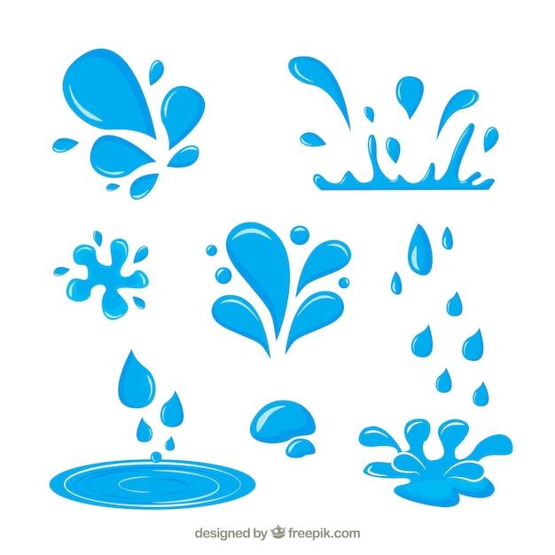 Coleção de respingos de água em estilo simples Vetor grátis