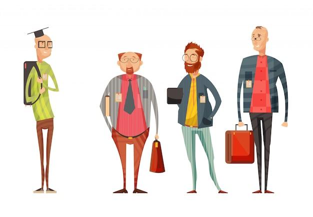 Coleção de retrô dos professores dos desenhos animados com homens sorridentes em copos com sacos na ilustração vetorial de fundo branco isolado Vetor grátis