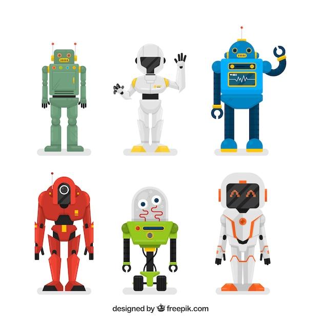 Coleção de robôs planos Vetor grátis