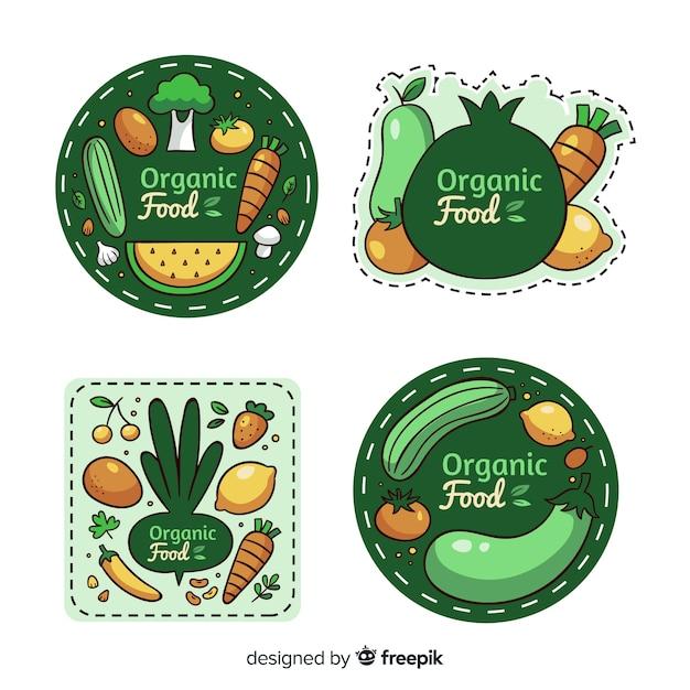Coleção de rótulo de alimentos orgânicos Vetor grátis